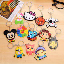 3d9d5bcc1 Holesale 12pcs/lot PVC Silicone Cartoon Anime Hello Kitty Minions Keychain  KT Key Chain Child Toy Party Gift Trinket Key Ring