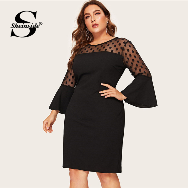 Sheinside Plus Size Elegant Polka Dot Mesh Patchwork Dress Women 2019 Spring Hem Slit Pencil Dresses Ladies Bell Sleeve Dress