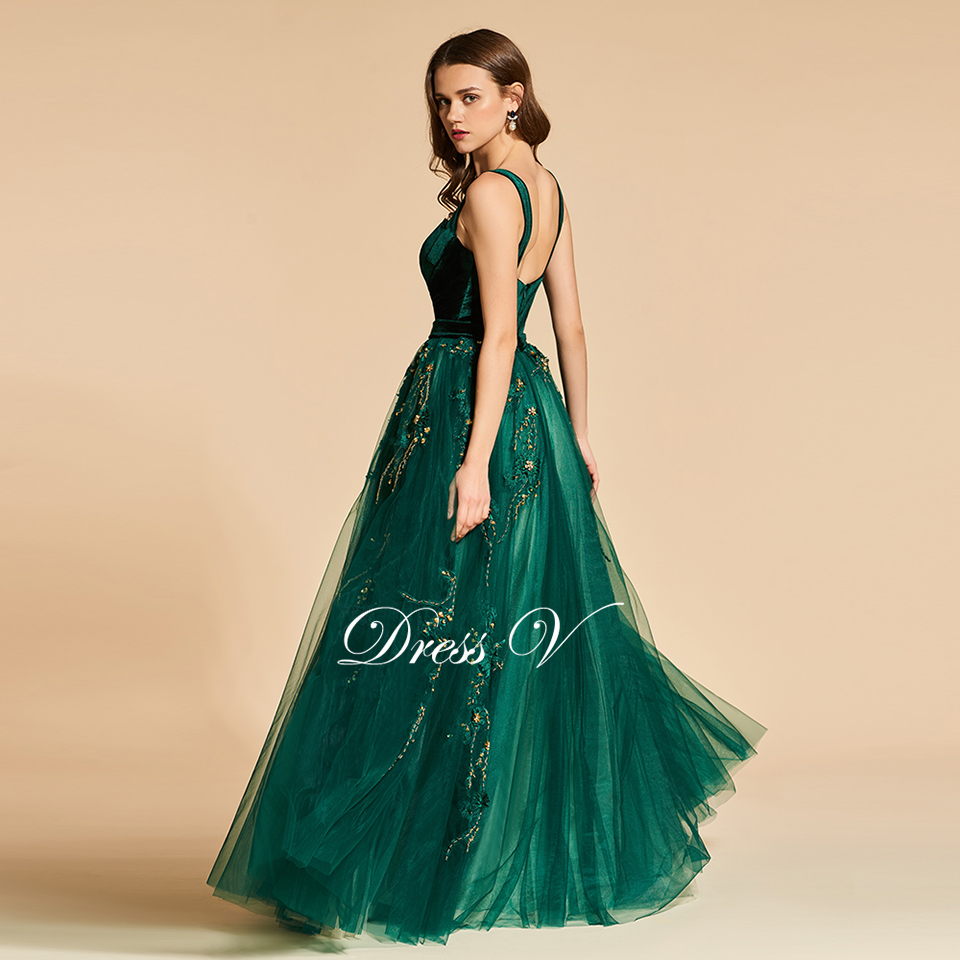 Dressv Green Long Evening Dress Elegant Spaghetti Strap Beading