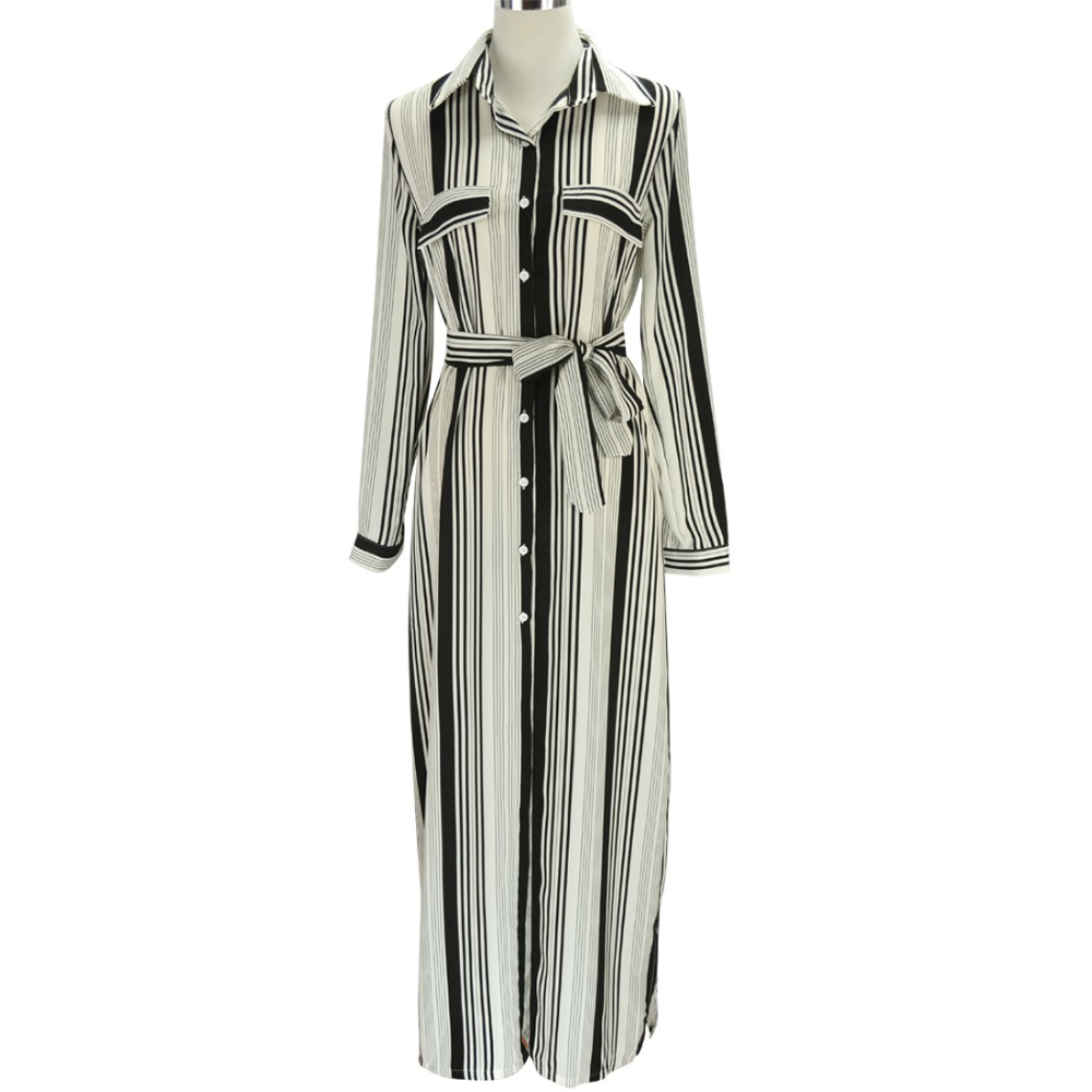 355dbe545c98 Fashion Women Black And White Long Maxi Striped Shirt Dress Ladies Sexy  Elegant Design Long Sleeve Evening Party Split Dresses-in Dresses from  Women s ...