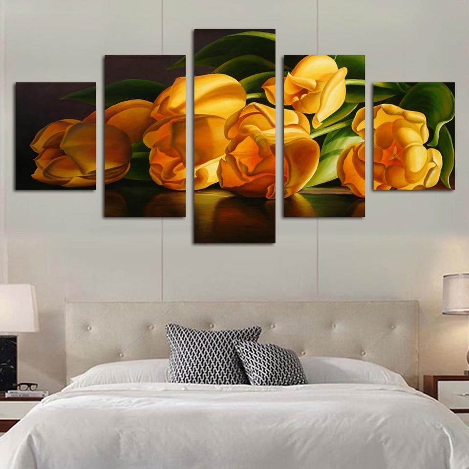 ③DIY diamante pintura mosaico multi-cuadros figura tulipán amarillo ...