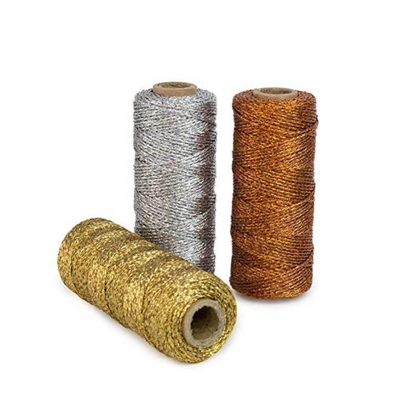 100m Metallic Gold Bakers Twine Spool 3-Ply For DIY Crafts Arts Gift Wrapping Deco 5pcs Silver & Rose Gold Cord Thread