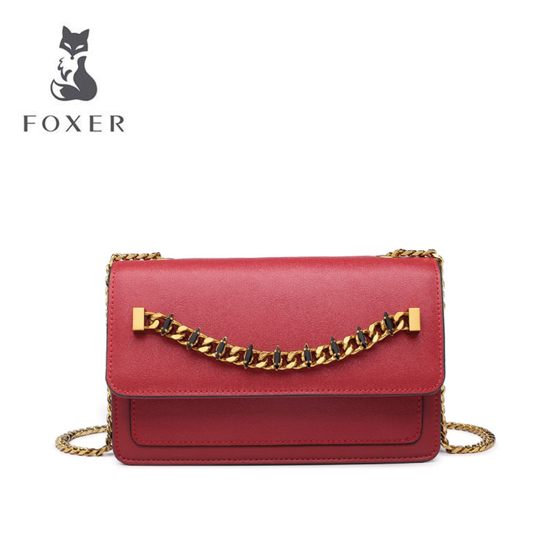 FOXER chain bag 2019 new wild temperament shoulder bag fashion diagonal organ bag female tideFOXER chain bag 2019 new wild temperament shoulder bag fashion diagonal organ bag female tide