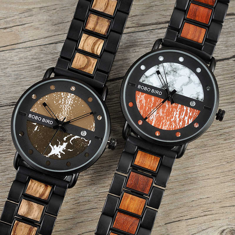 ea36e7dde ... BOBO BIRD Wood Metal Watch Military Timepieces Color Matching Dial  Stylish Date Display erkek kol saati ...