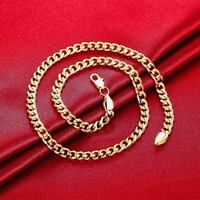 Wholesale Gold Chain For Men Charm 20 7MM Long Chain Gold Necklace Mens Jewelry Collar Hombre