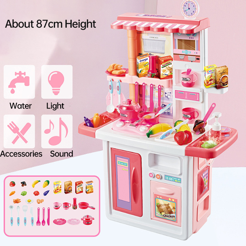 New HOT Children Big Kitchen Set Pretend Play Toys Cooking Food Miniature Play Do House Education Toy Gift For Girl Kid D133