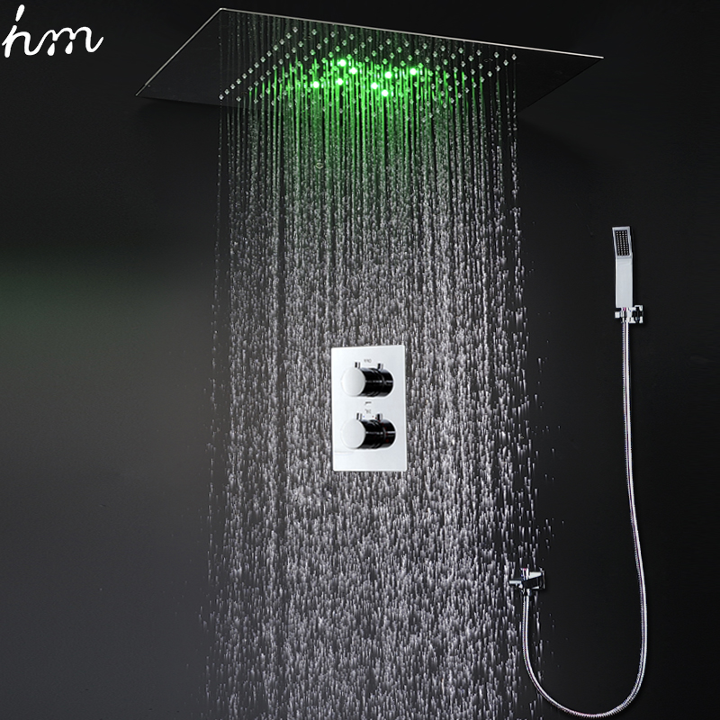 luxury bath shower faucets ceiling rainfall showerheads panel duchas led shower set with thermostat concealed mixer