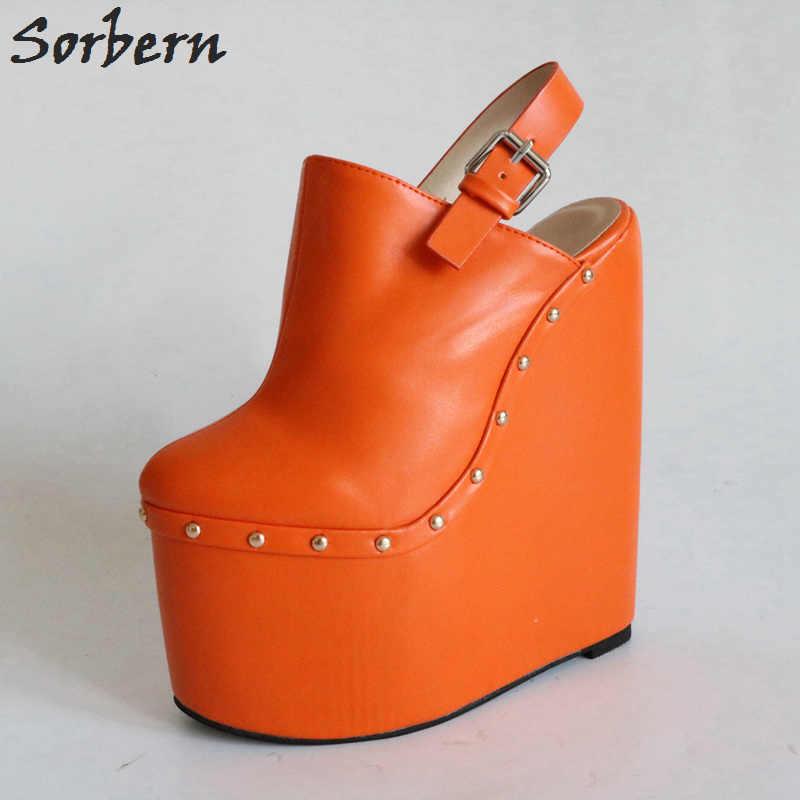 bc48ac2d4f ... Women Black Extrem High Heel Wedges 20Cm Pointed Toe Slingbacks Women  Platform Shoes Spring 2018 Designer ...