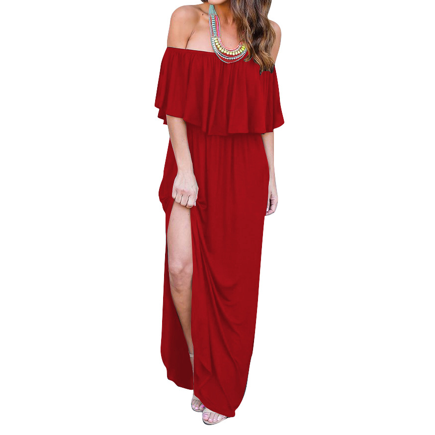 2018 Sexy Slash Neck Dresses Solid Casual Split Beach New Boho Maxi Long Summer Dress Women Sexy Dress Plus Size GV741
