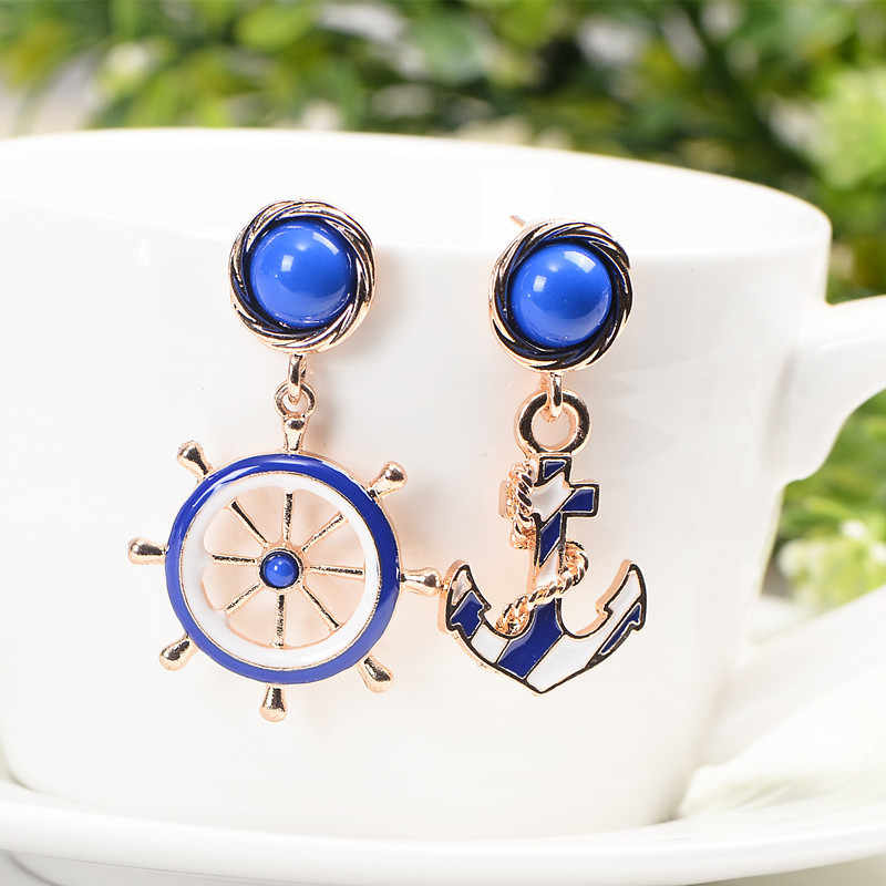 Bohemian Style Individuality Unique Asymmetry Anchors Rudder Stud Pearl Crystal Earrings For Women Bijoux