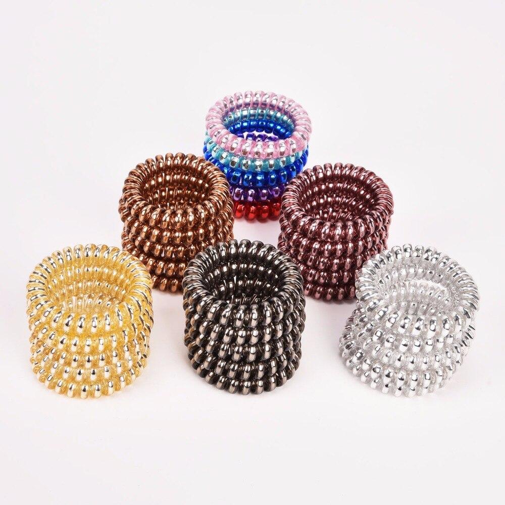 5 Pack Multi Coloured Spiral Bobbles Hair Tie Teen Hair Accessories