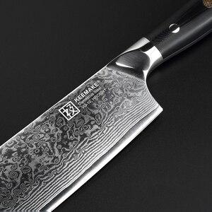 """Image 5 - KEEMAKE 7 """"Cleaver Bıçak Mutfak Şef bıçağı Japon 73 Katmanlar Şam VG10 Çelik Jilet Keskin Bıçak G10 Kolu Kesme araçları"""