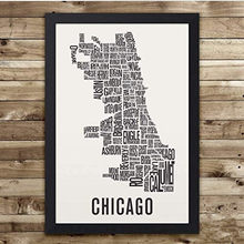 Wall Art Chicago Neighborhood Map Print Minimalist Style Poster View Canvas Artwork for Living Room Decor(China)