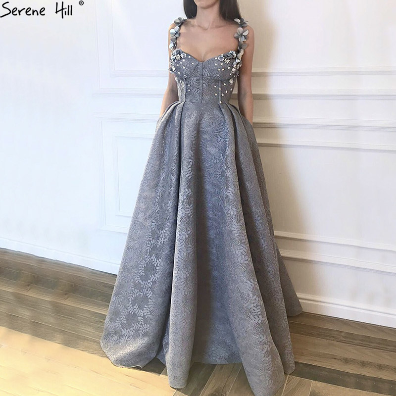 Long Turkish Grey Lace Formal Evening Prom Party Gown Dress Lebanon Engagement Abiye Gowns Dresses Abendkleider 2019 BLA6539 gown