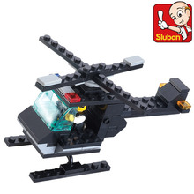 Educational toy 3d plastic small city police helicopter model building kits assembled block children creative gift