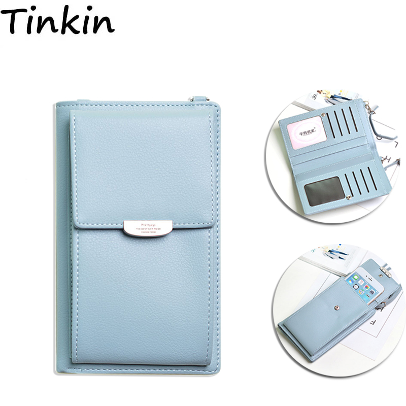 Tinkin PU Leather Multifunction Women Shoulder Bag Fashon Candy Color Cell Phone Bag