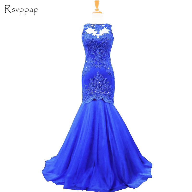 Long Evening Dress 2017 New Arrival Mermaid Scoop Lace Backless Royal Blue Floor Length Women Formal