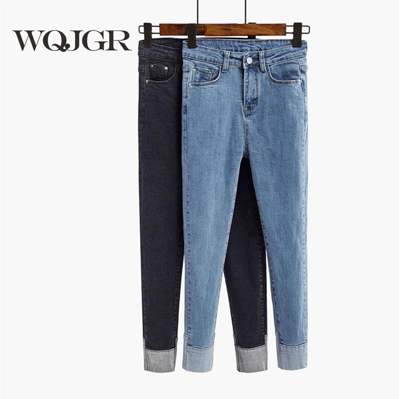 Spring And Autumn New High Waist Jeans Black Jeans Woman Nine Part Pants Volume Edge Bound Feet Pants