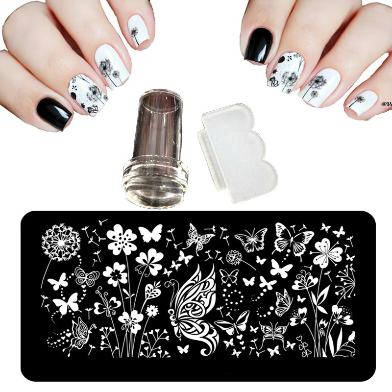12X6cm 24 Style Nail Art Stamping Plates Shocker For Lacquer Palette Butterfly Flowers Steel Nail Stencil