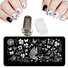 12X6cm 24 Style Nail Art Stamping Plates Shocker For Lacquer Palette Butterfly Flowers  Steel Nail Stencil+ 2.3cm Stamp+Knives