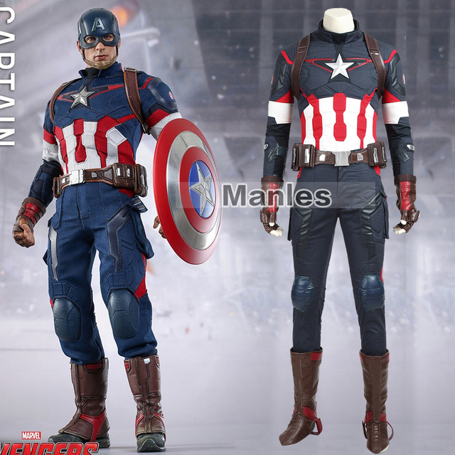 Movie Avengers Age of Ultron Steve Rogers Costume Superhero Captain America  Cosplay Costume Halloween Clothing Adult