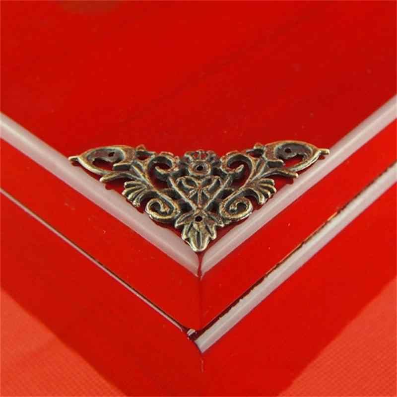 4ピースブロンズ合金コーナー/アンティーク角パッチレトロ装飾ボックステーブル角度(爪)