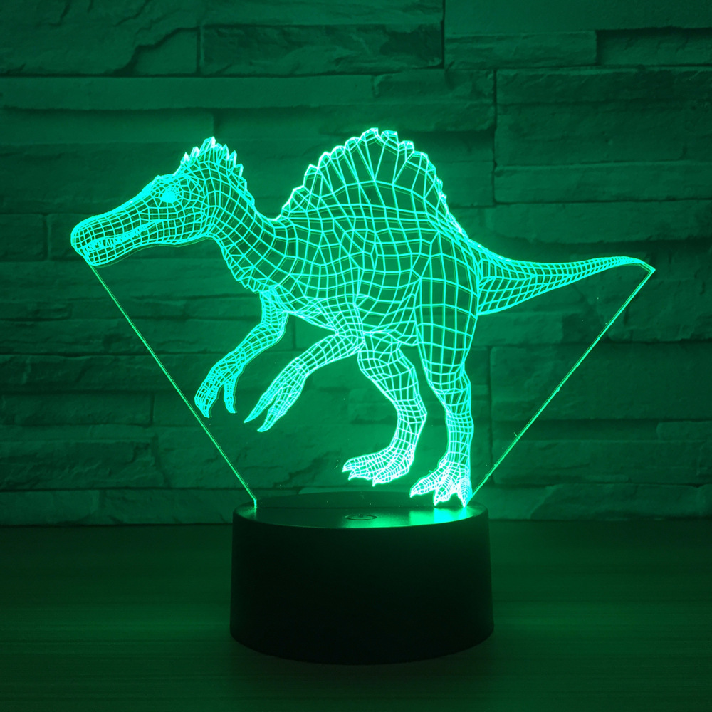 Led Spinosaurus 3d Dinosaur Model Creative Toy Interior Decoration Model with Led Ornaments Gift Collection car ornaments solar airplane model aircraft interior model car gift ideas