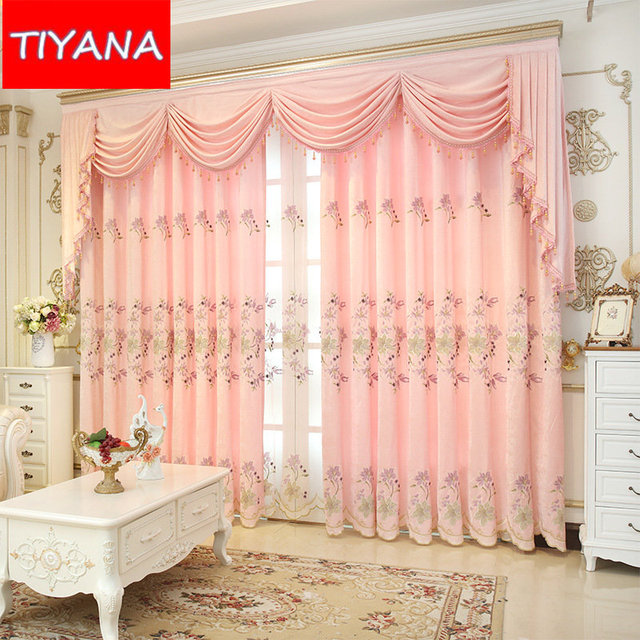 High Grade Blackout Eyelets Curtains For Bedroom Embroidered Pink Floral  Curtains For Living Room Sheer Tulle