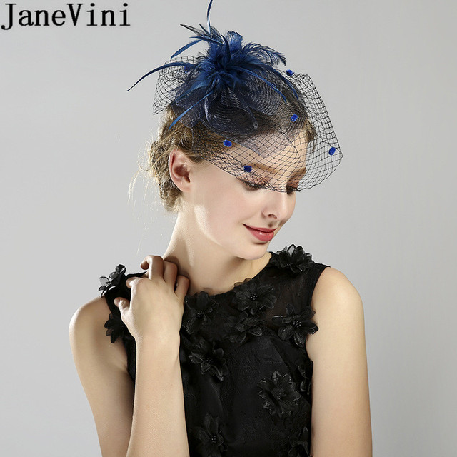 c36057fb JaneVini Fascinator Wedding Hat With Face Veil Hairpin Vintage Black Bridal  Hats for Women Feathers Party Hair Accessories Navy