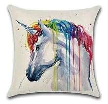 CAMMITEVER Cartoon Rainbow Unicorn Elephant Zebra Panda Cat Wolf Bird Cushion Cover 45x45cm