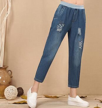 Ripped cotton harem pants for women denim casual jeans spring summer autumn elastic waist loose capris female plus size jln0705 summer ripped hole jeans ankle length pants women high waist loose vintage harem denim pants plus size casual blue jeans female