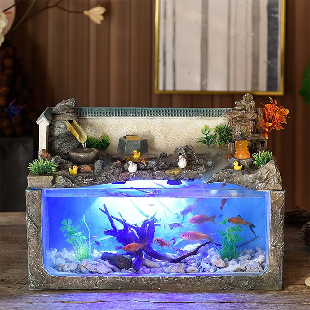 Ecological Fish Tank Desktop Home Fountain Landscape Aquarium Wind Water Wheel Ornaments Office Decorations Retro Chinese Europe