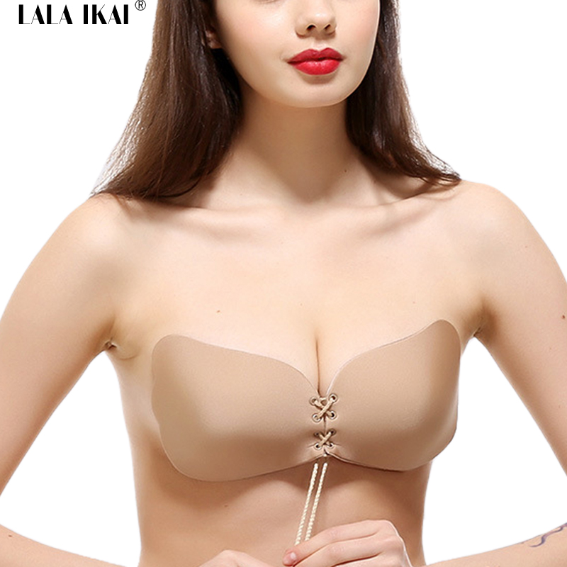 21cd503544 2018 Sexy Wedding Sticky Bra Woman Cross Ties Silicone Invisible Bra U  Plunge Lace Up Party Backless Strapless Bra SWU0008-5