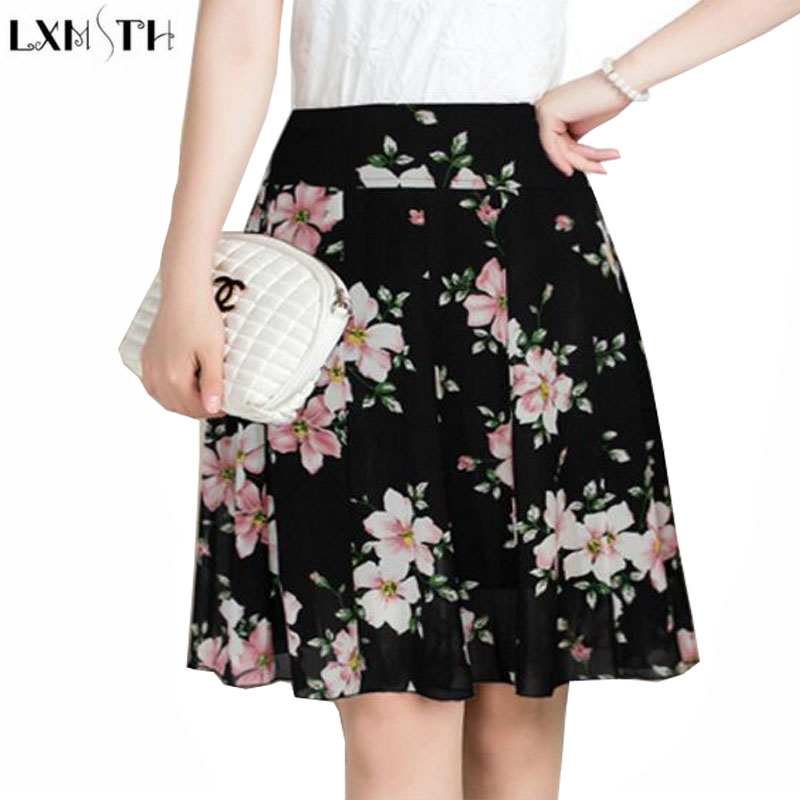 LXMSTH Chiffon Skirt Woman Summer New Flower Print Skirt Mom Plus Size High Waisted Thin A Line Pleated Skirts ladies 5XL 6XL