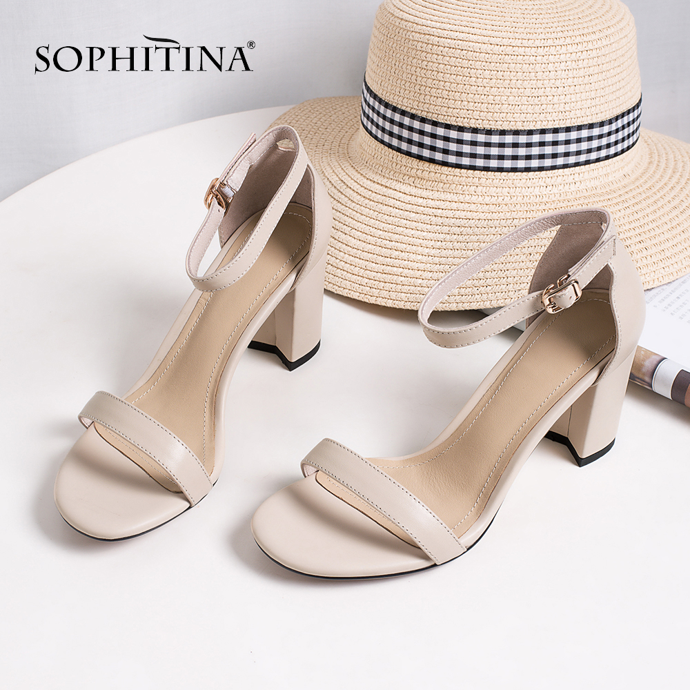 SOPHITINA Fashion Ankle Strap Sandals High Quality Sheepskin Casual Concise Elegant Square Toe Shoes Comfortable Sandals MO248