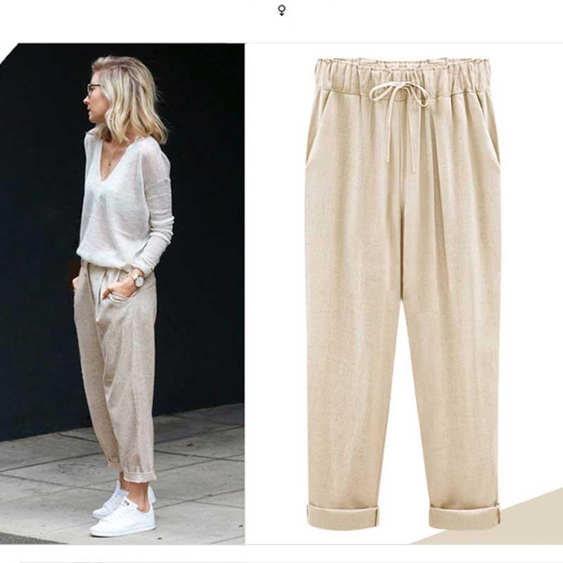 Women 8XL Oversize Cotton Linen Cropped   Pants     Wide     Leg     Pants   Summer Plus Size Lightweight High Waist Loose Casual Trouser
