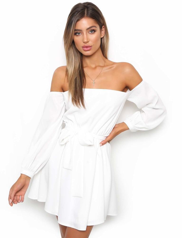 Spring Slash Neck Dress for Women Solid Women Dresses Sexy Elegant Vestidos