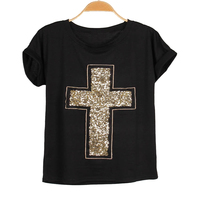 Cotton Short Sleeve Tshirts 2015 Crossing Sequin Embroidery Print Tees Tops Women Casual Black Round Neck