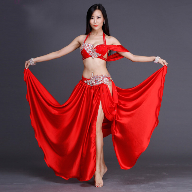 2018 Women Professional Belly Dance Costume Set Luxury Bellydance Costumes  Stage Performance Diamond Decoration Bras   Skirt Set 9732ba60de8f