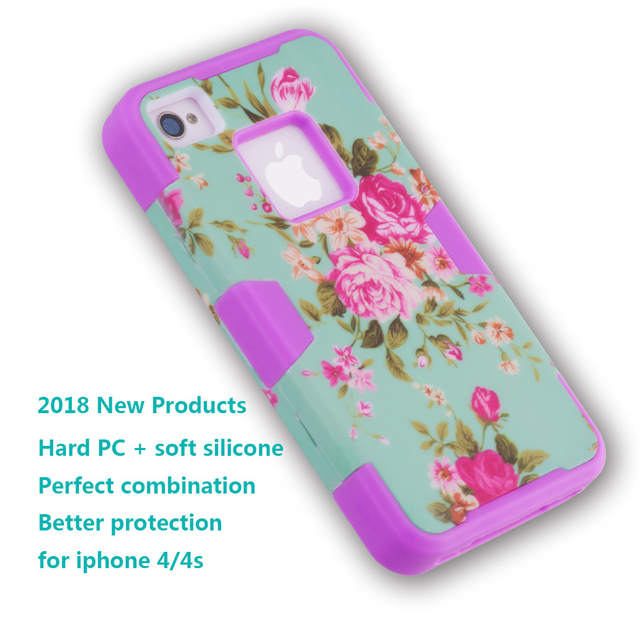 Placeholder Iqd For Iphone4 4s Case Hybrid Armor Chic Peony Flower High Impact Cover Iphone