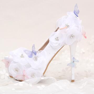 14 СМ 12 СМ дополнительные высокие каблуки белая бабочка свадьба обувь для женщин TG625 кружева органзы цветы кристалл свадьба обувь