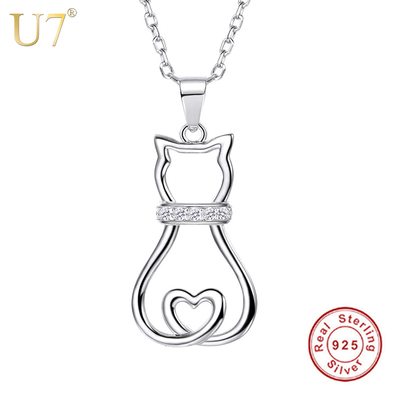 U7 Authentic 100% 925 Sterling Silver Cat Pendant Necklace Lovely Cute Animal CZ Women Fashion Jewelry Valentine Gift SC85 u7 100