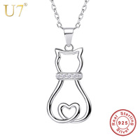 U7 Authentic 100 925 Sterling Silver Cat Pendant Necklace Lovely Cute Animal CZ Women Fashion Jewelry