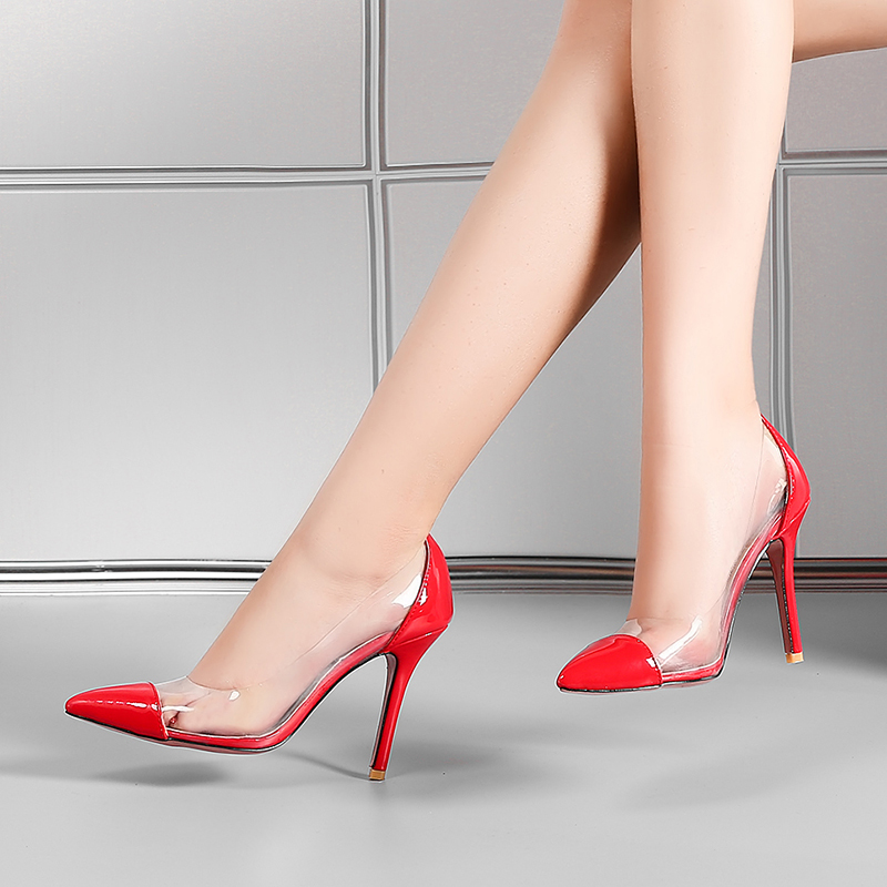 Chainingyee casual style fashion sexy pointed toe pumps transparent slip-on black red beige high heels women's shoes big size summer bling thin heels pumps pointed toe fashion sexy high heels boots 2016 new big size 41 42 43 pumps 20161217
