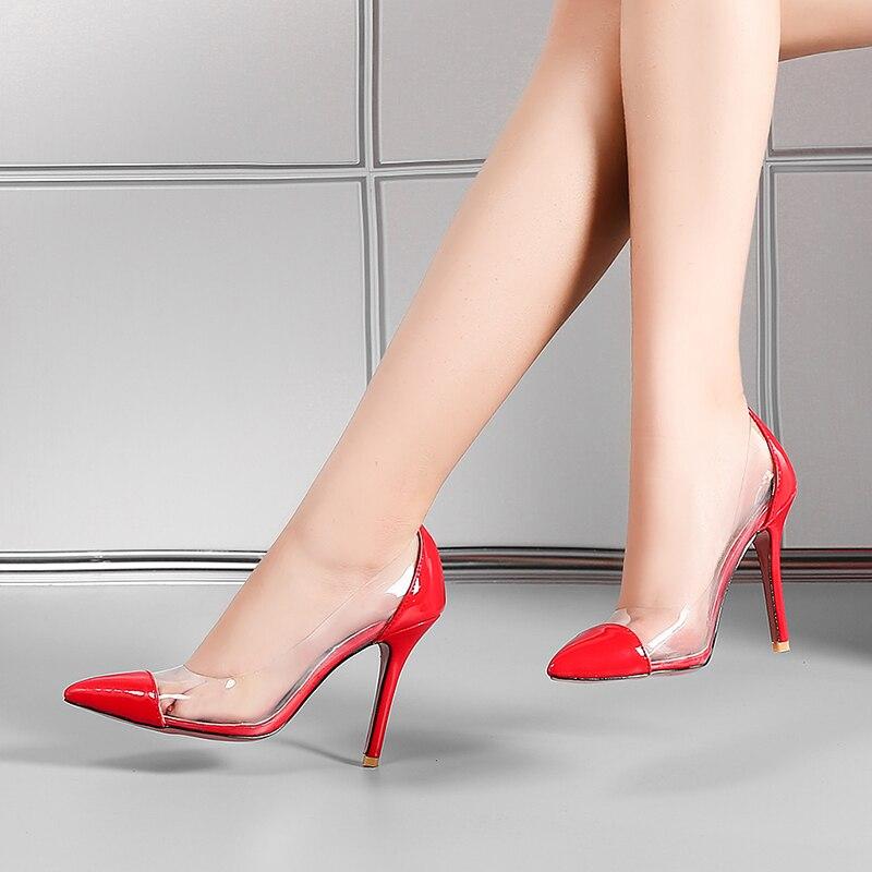 Tacones Moda Sexy Tamaño Zapatos Estilo Beige De Chainingyee Rojo Punta Bombas red Beige Slip Gran on Mujer Transparente Negro Casual black Altos IxtqZZO