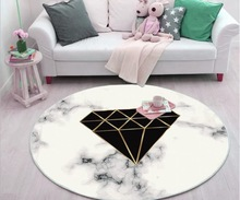 Nordic Marbled Pattern Rugs Fashion Design Living Room Carpet Bedroom Door Mat Custom Spring summer 6mm Luxury Round 3D Carpets