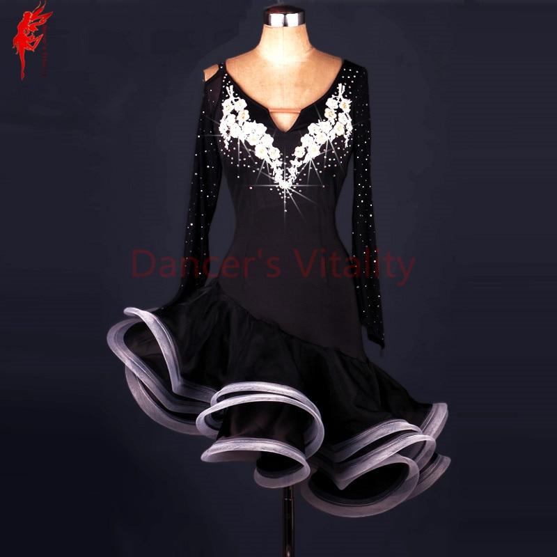 Women Latin Dance Clothes Luxury Stones Longsleeve Latin Dance Dress For Girls Latin Dance Dresses Lady Performance Dress XS-6XL