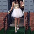 Robe de Cocktail  2016 Luxury Short Two Pieces Cocktail Dresses Party Dress Short Prom Dress with Gold Crystals