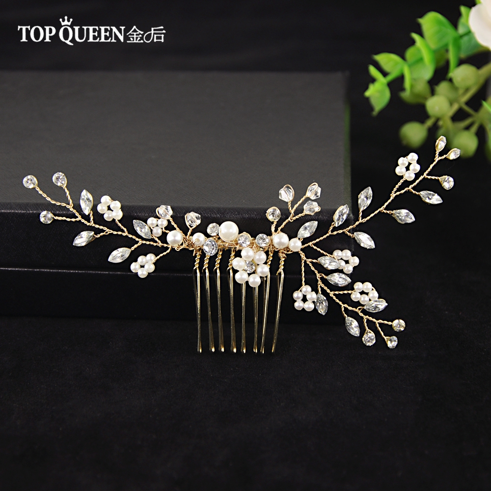 TOPQUEEN Crystal Bride Hair Comb Wedding Hair Accessories Handmade Simulated Pearl Bridal Headdress Hair Ornaments Jewelry HP22