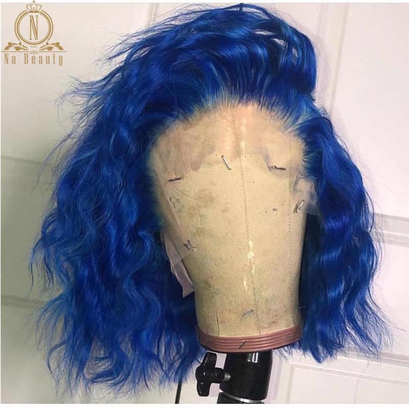 13x6 Blauwe Pruik Gekleurde Wave Bob Met Baby Haar Korte Lace Front Voor Vrouwen Zwart Remy Haar Preplucked lace Front Pruiken Menselijk Haar